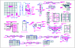 Architectural detail view for educational area dwg file