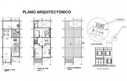Architectural drawing of 2 storey house with elevation in AutoCAD