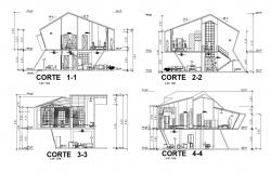 Architectural drawing of the bungalow design with the different section in dwg file