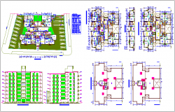 Architectural floor plan of municipal building with elevation and elevated tank plan dwg file
