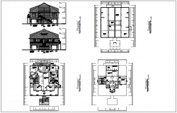 Architectural floor plan with rear and front view dwg file