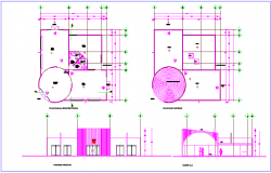 Architectural floor plan with roof plan,elevation and section view of multi purpose use hall dwg file