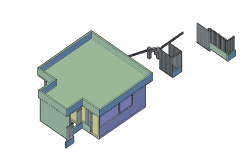 Architectural layout view of a guard house dwg file
