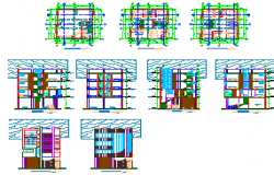 Architectural modern design drawing of hotel design