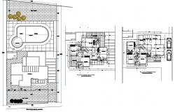 Architectural plan of 2 storey house with detail dimension in autocad