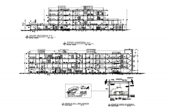 Architectural plan of 4 storey Hospital with Section in dwg file
