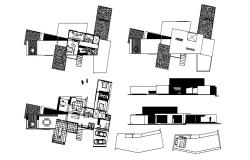Architectural plan of Bungalow with elevation and section in AutoCAD