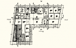 Architectural plan of Hospital with Different section in dwg file