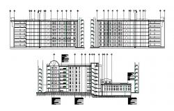 Architectural plan of Hospital with section and elevation in dwg file