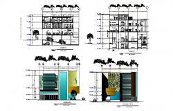 Architectural plan of Hostel with different section in dwg file