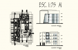 Architectural plan of Hotel with different elevation and section in dwg file