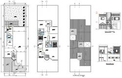 Architectural plan of House 10mtr x 34mtr with Elevation and Section in dwg file