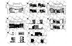 Architectural plan of Office Building with different elevation and section in dwg file