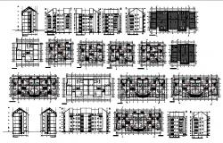 Architectural plan of Residential apartment 21.15mtr x 14.55mtr with section and elevation