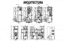 Architectural plan of Residential house 7.19mtr x 11.47mtr in autocad file with different section