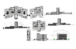 Architectural plan of a general hospital with elevation and section in dwg file