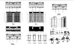 Architectural plan of a multistorey residential apartment in dwg file