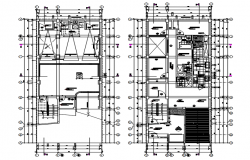 Architectural plan of apartment 7.90mtr x 19.95mtr in AutoCAD