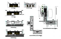 Architectural plan of building with different elevation in dwg file