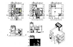 Architectural plan of bungalow 12.00mtr x 11.00mtr with elevation and section in AutoCAD