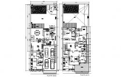 Architectural plan of bungalow 12.00mtr x 30.00mtr with detail dimension in dwg file