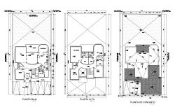 Architectural plan of bungalow 16.02mtr x 32.22mtr with detail dimension in dwg file