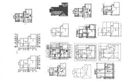 Architectural plan of bungalow 80'00'' x 74'00'' with details dimension in dwg file