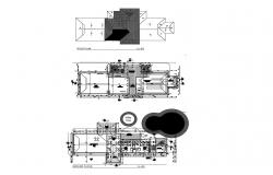 Architectural plan of commercial building with detail dimension in dwg file