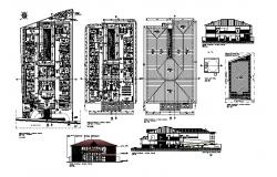 Architectural plan of hospital 22.40mtr x 32.80mtr  with elevation and section in dwg file