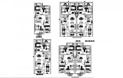 Architectural plan of house 25' x 45' with furniture detail in AutoCAD