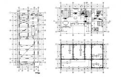 Architectural plan of house design 14.00mtr x 8.00mtr with detail dimension in dwg file