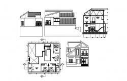 Architectural plan of house with section and elevation in dwg file