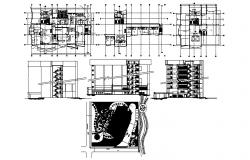 Architectural plan of multistorey hotel building 58.90mtr x 29.25mtr with detail dimension in dwg file