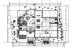 Architectural plan of office with interior design in AutoCAD