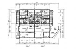 Architectural plan of residential apartment 68.0' x 52.0' with detail dimension in dwg file