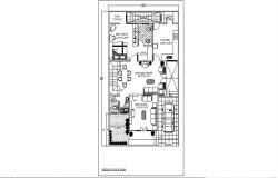 Architectural plan of residential house 30' x 50' with furniture detail in AutoCAD