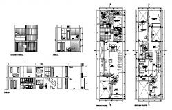 Architectural plan of single family house 6.00mtr x 20.00mtr in autocad file