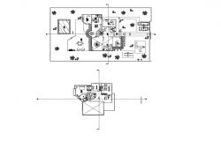 Architectural plan of the bungalow with detail dimension in dwg file