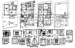 Architectural plan of the bungalow with detail dimensions in dwg file