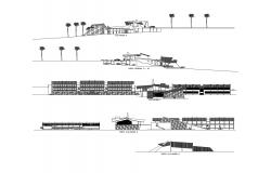 Architectural plan of the hotel with elevation and section in dwg file