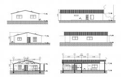 Architectural plan of the house with elevation and section in dwg file