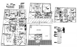 Architectural plan of the house with furniture details in dwg file