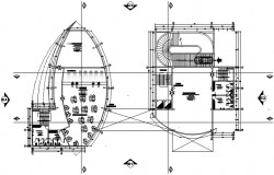 Architectural plan of the office building with detail dimension in autocad