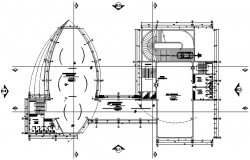 Architectural plan of the office building with detail dimension in dwg file
