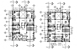 Architectural plan of the office building with furniture details in dwg file