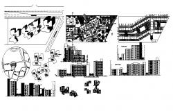 Architectural plan of the residential apartment with elevation and section in dwg file