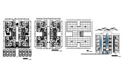Architectural plan of the residential apartment with elevation in dwg file