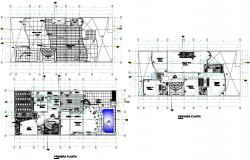 Architectural plan of the villa with detail dimension in dwg file