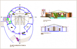Architectural plan with elevation and section view of multi purpose room dwg file