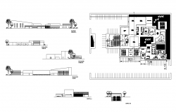 Architectural school detail elevation, plan and section layout autocad file